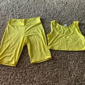 Women's yellow two piece short and crop top set